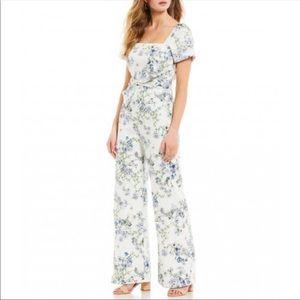 ANTONIO MELANI Floral Jumpsuit Cotton White Blue